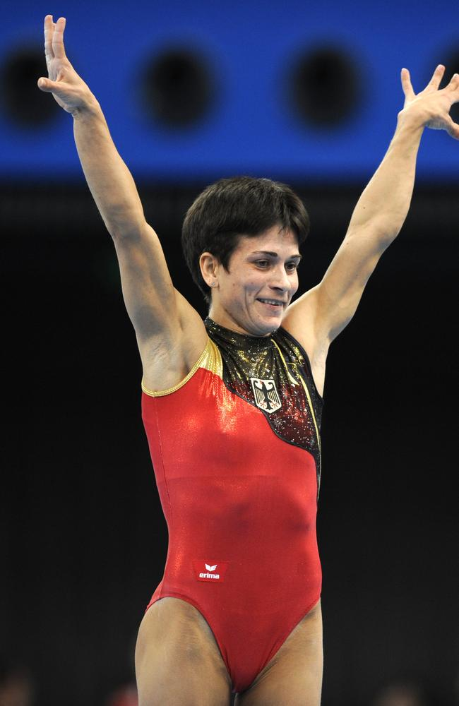 Chusovitina, competing for Germany, at the women's vault final at the 2008 Beijing Olympic Games.