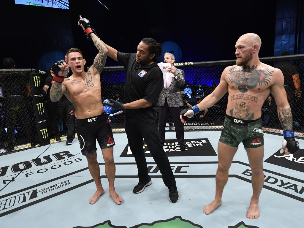 It's hard to know what hurt Conor more, the leg kicks or this moment.