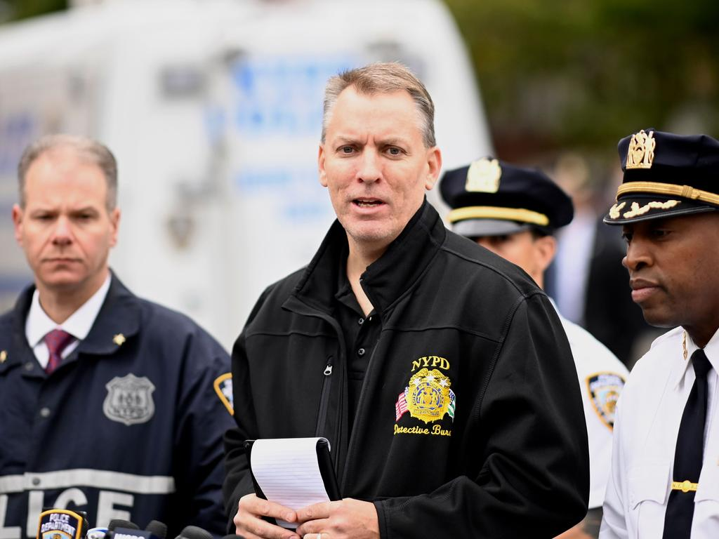 New York Police Department Chief of detectives Dermot Shea speaks at the crime scene. Picture: AFP