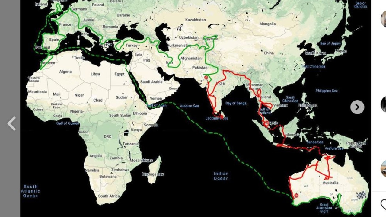 The route the couple planned to take, starting in 2017. Picture: Instagram
