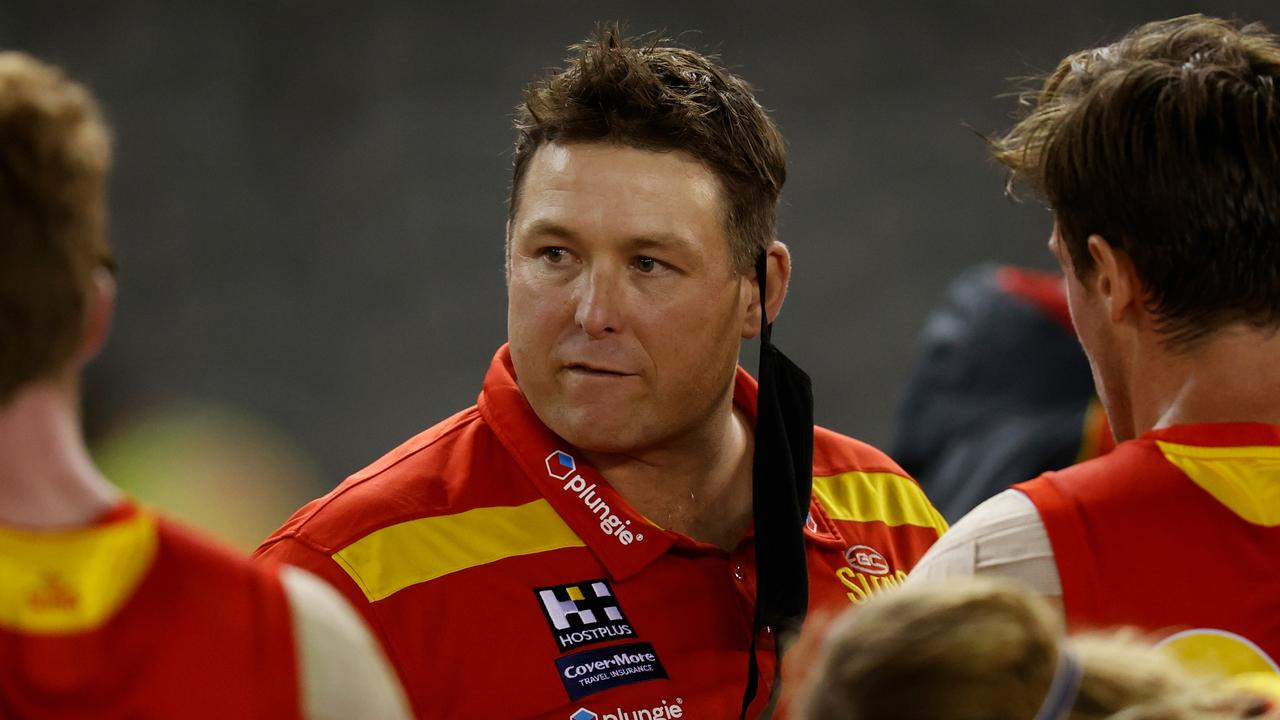 Stuart Dew isn't surprised Alastair Clarkson has been linked to the Gold Coast job after a heavy Suns loss to Melbourne. Picture: Michael Willson/AFL Photos via Getty Images