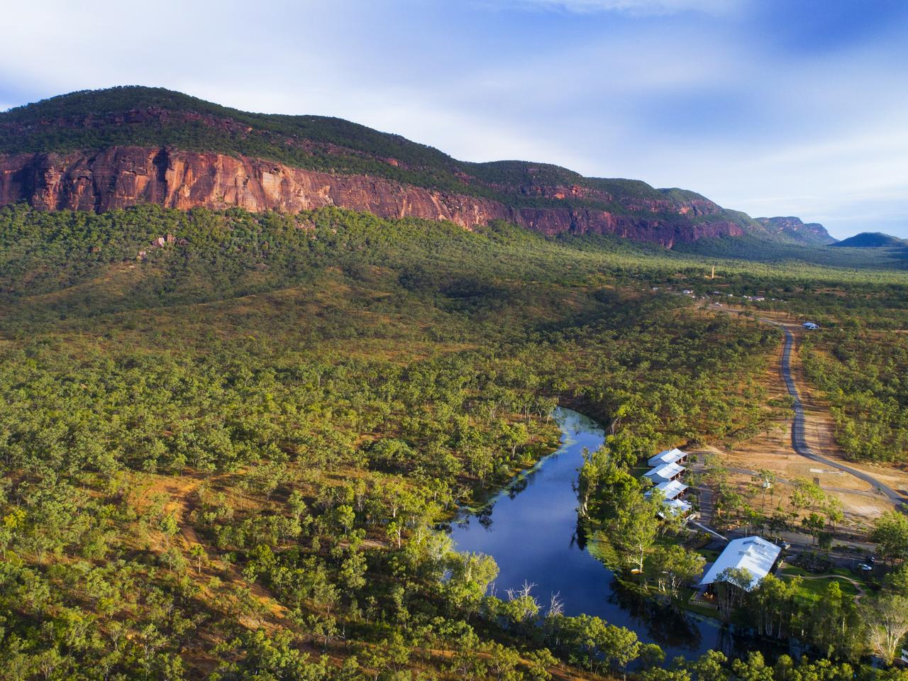 Aerial image above Mount Mulligan Lodge in Far North Queensland. Picture Lachie Millard