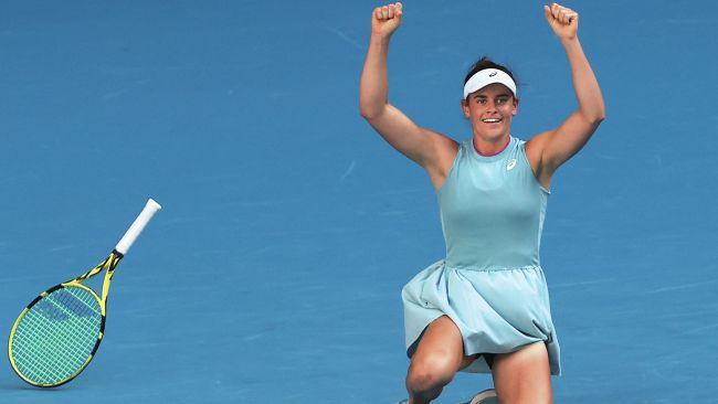 The moment Jennifer Brady reached the Australian Open final. Picture: AFP Photos