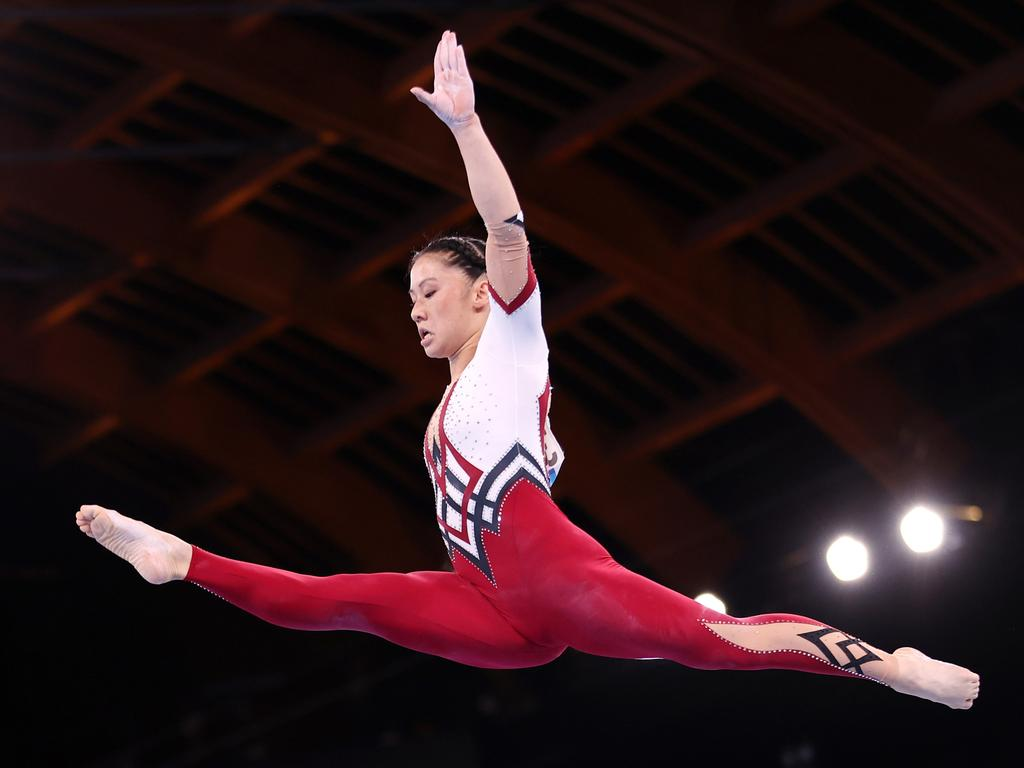 Kim Bui of Team Germany competes on balance beam. Picture: Laurence Griffiths/Getty Images