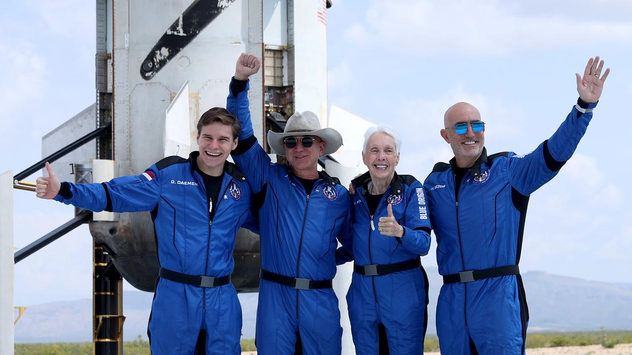 Jeff Bezos and the crew of his rocket were the first human passengers for his Blue Origin company. Picture: Getty Images