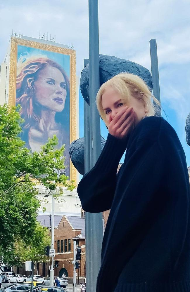 Nicole Kidman reacts to seeing her mural that was painted recently in Kings Cross, Sydney. Picture: Instagram
