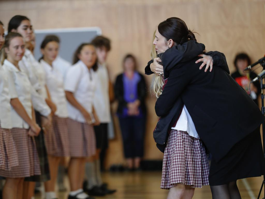 She asked students to help her keep New Zealand free from hate. Picture: Vincent Thian/AP