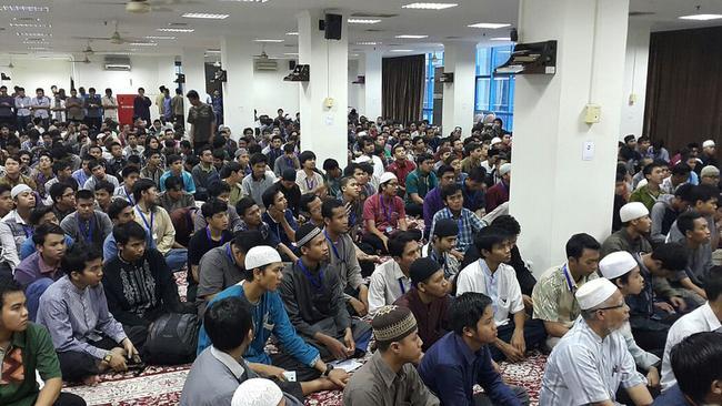 Students at LIPIA university in Jakarta listen to visiting Saudi sheik Dr Al-Shatri. Picture: bfos.my