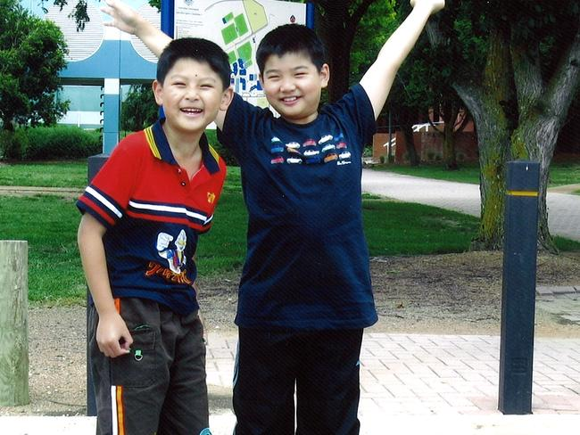 Brothers Terry Lin (9) and Henry Lin (12).