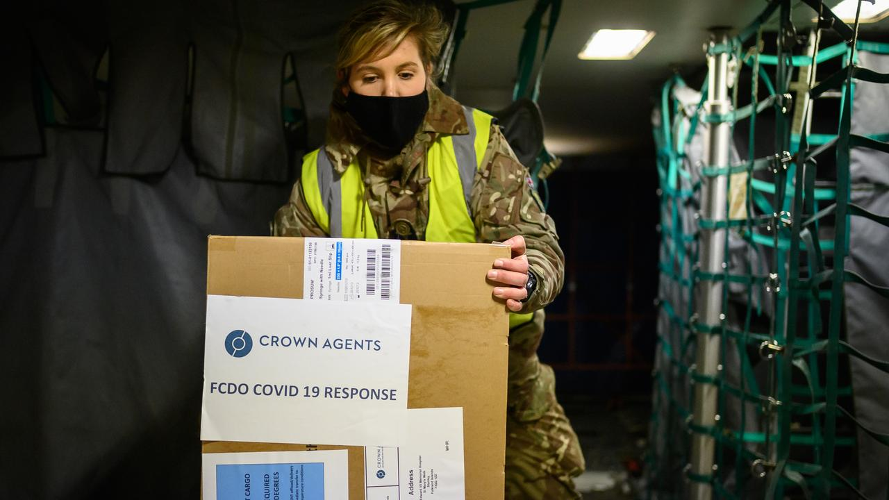 AstraZeneca vaccines bound for the Falkland Islands. Picture: Leon Neal/Getty Images
