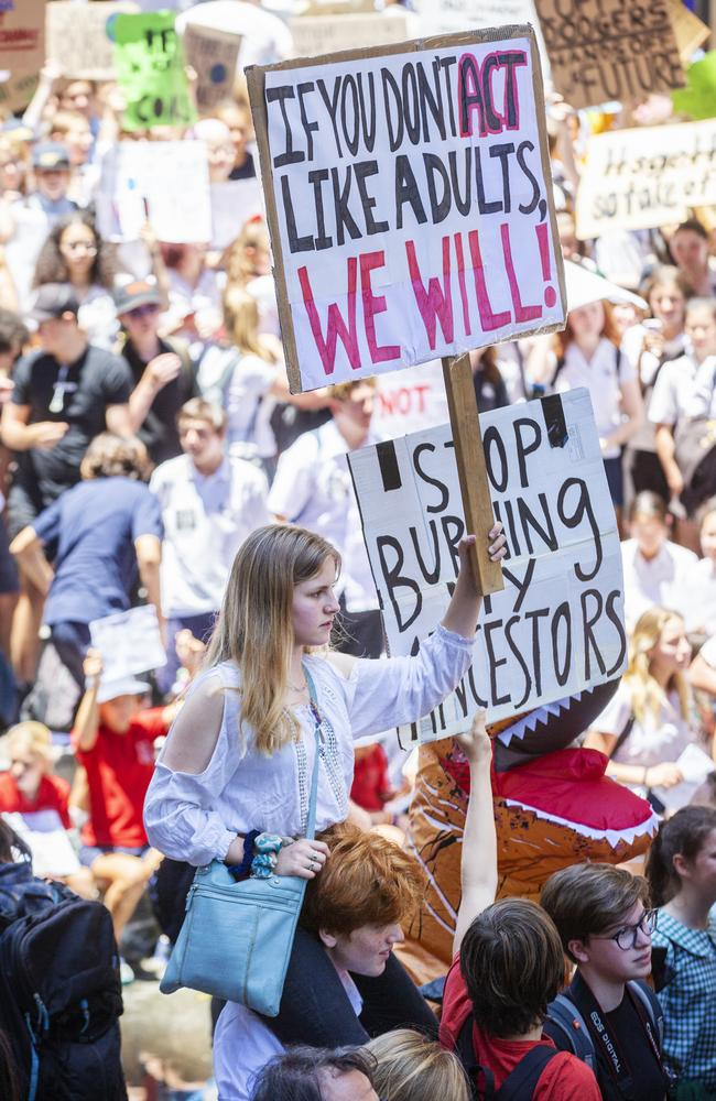 Students at the climate march in Martin Place. Picture: Jenny Evans