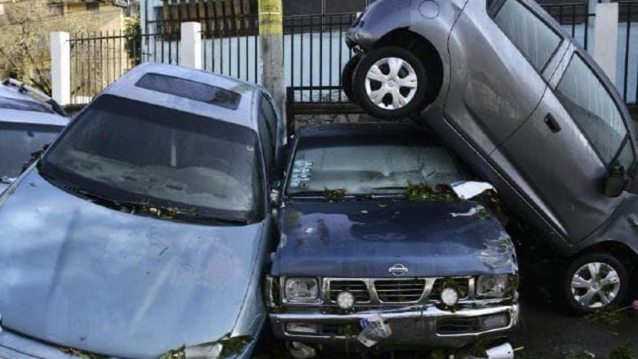 Cars are piled up after the hailstorm hit. Picture: Jalisco State Civil Defense Agency via AP
