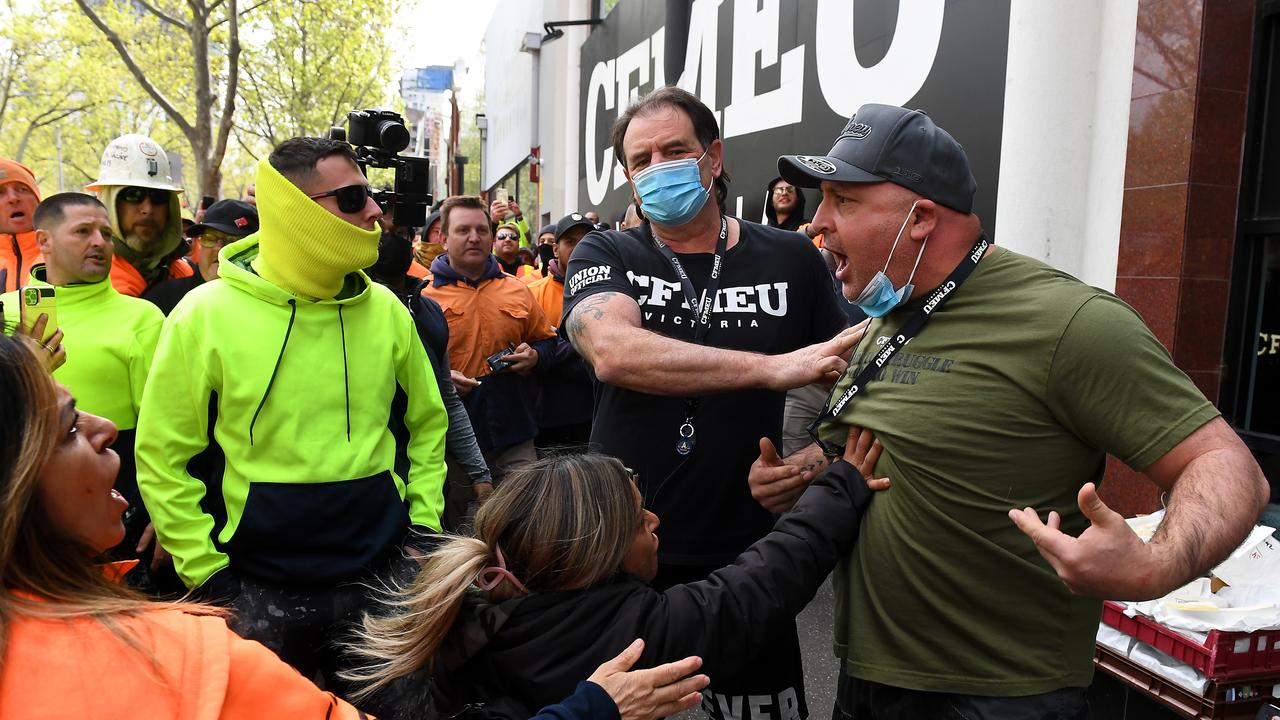 Construction workers clash with unionists outside CFMEU headquarters. Picture: James Ross