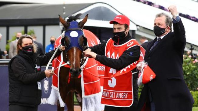 Denis Pagan with VRC Derby winner Johnny Get Angry.