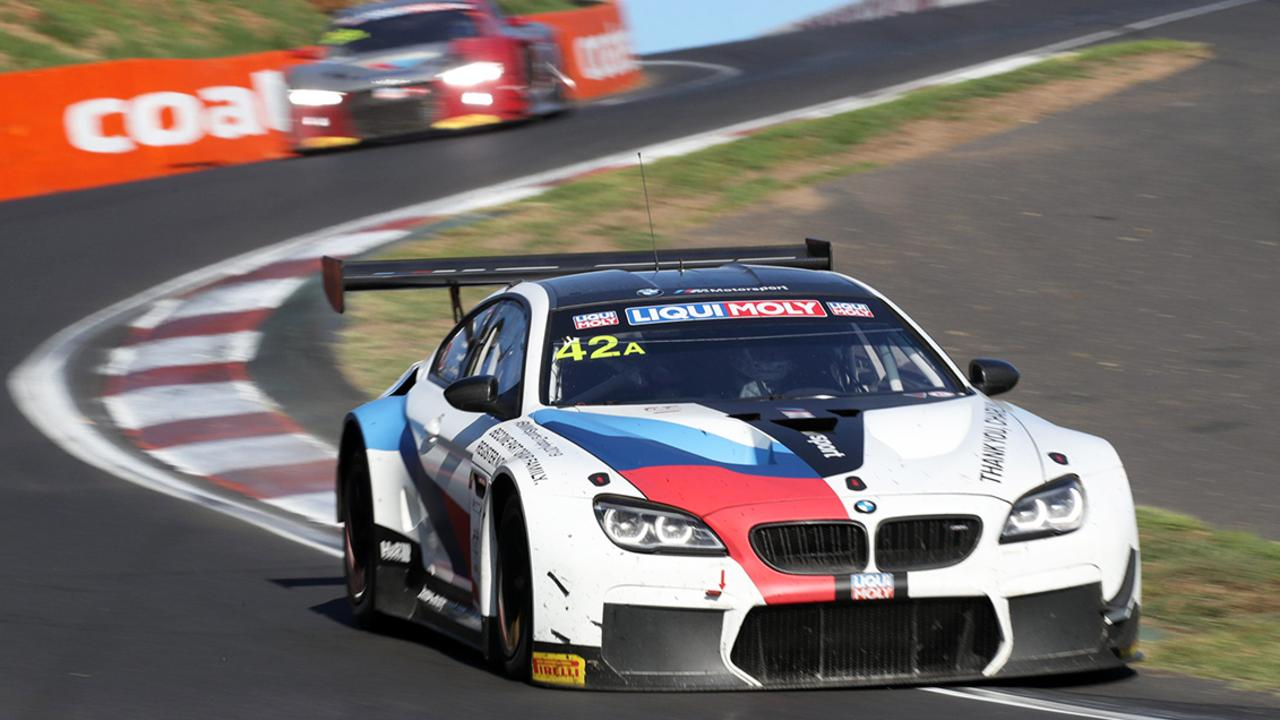 The BMW featuring Chaz Mostert is leading the race at the halfway stage.