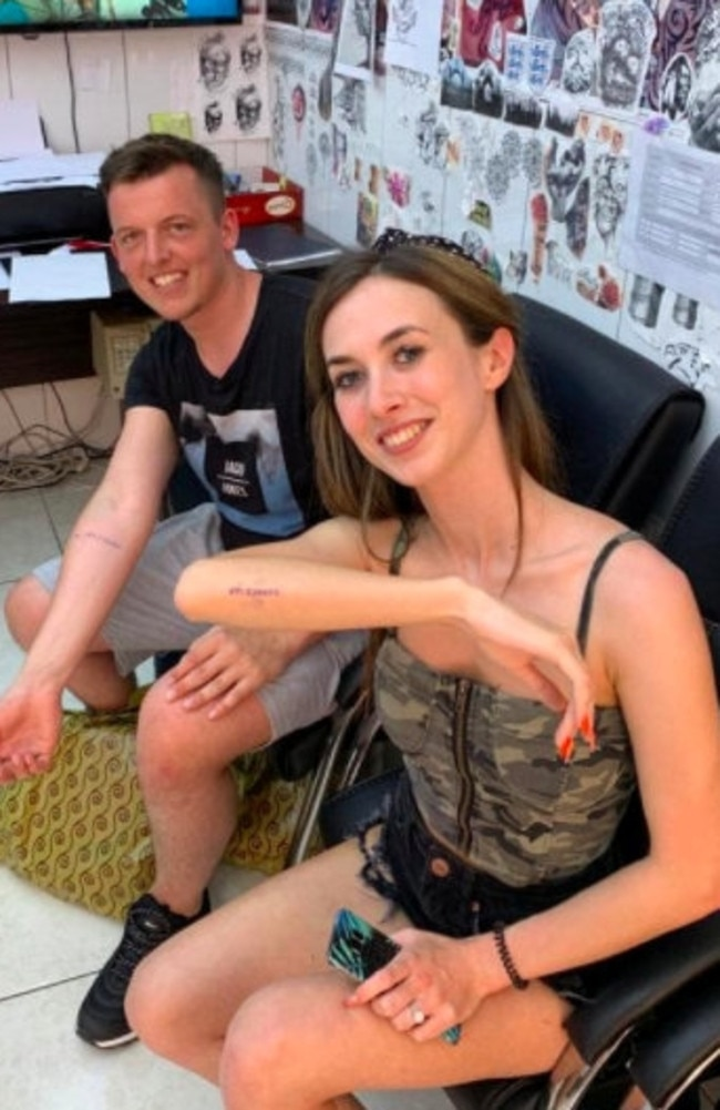Francis Donald and Fionnuala Kearney have been left disappointed after they got matching tattoos of their upcoming wedding date – only for it to be cancelled because of the virus pandemic, Picture: SWNS/Mega