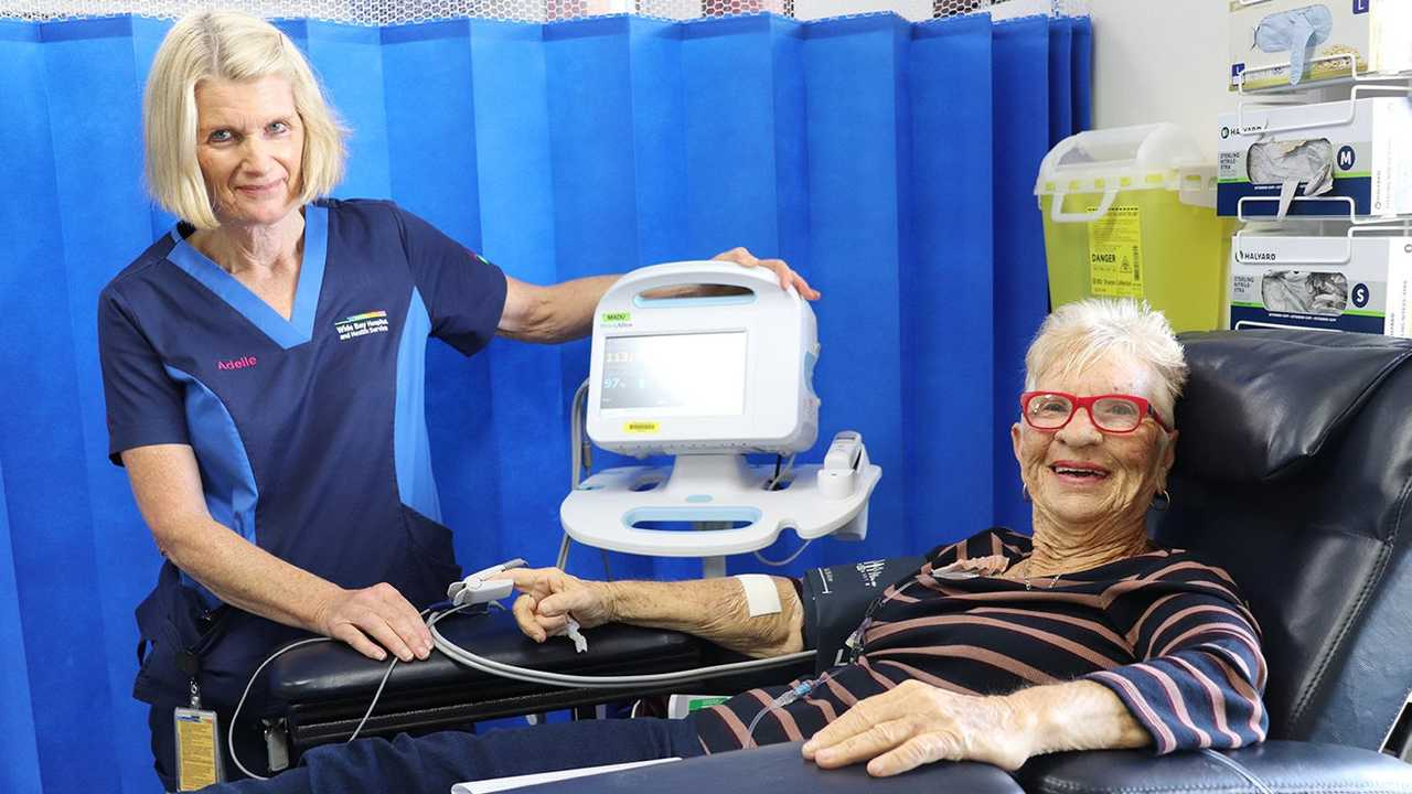 Hervey Bay leukaemia patient Margaret Anderson can now receive her life-saving transfusions locally. She is pictured with Adelle McCallion, who is a Clinical Nurse Consultant with iCAT in Hervey Bay. Picture: Contributed
