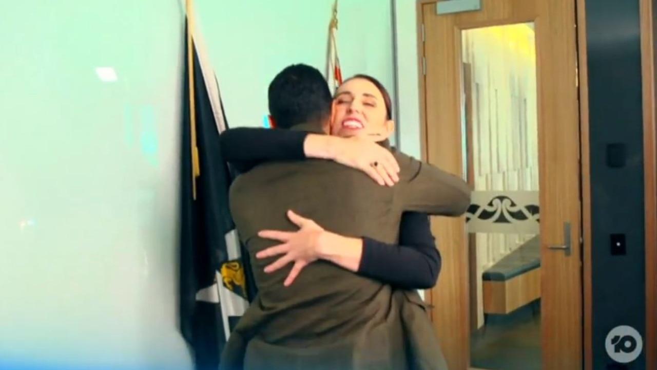 Jacinda Ardern greeted Waleed Aly with a hug