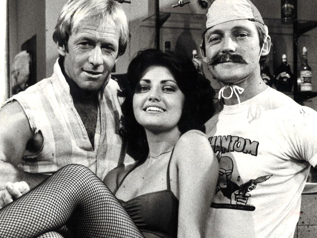 Paul Hogan, Karen Pini and John Cornell ('Strop') in 1979.