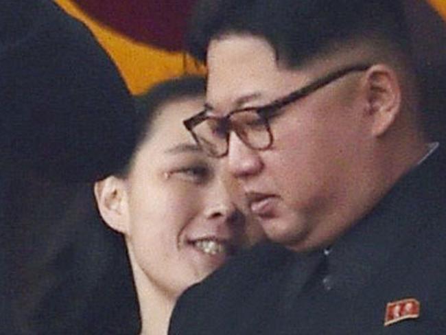 Kim Yo Jong sits behind Kim Jong Un. Picture: Minoru Iwasaki