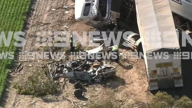 The shocking crash happened about midnight on Sunday. Picture: 9 News