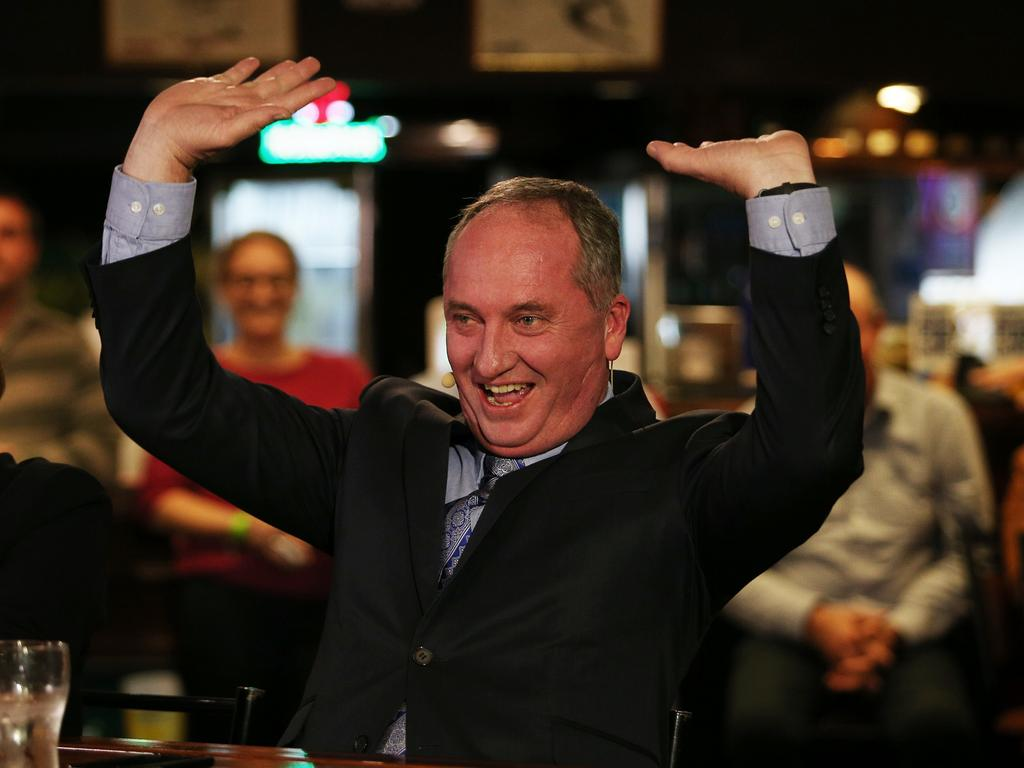 Here's an out-of-context photo of Barnaby raising the roof.