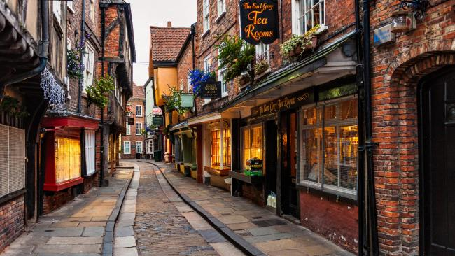 The Shambles - York UK A medieval street that was the inspiration behind Harry Potter's Diagon Alley for the film's set designers, if you're in the northern city you should make a beeline for here as one of our top things to do in York.Far from what its name would suggest, it isn't actually named for looking like a shambles. Instead, it's for the ancient word Fleshammels, as this was where butchers would show their wares on 'flesh-shelves'. No need to look green at the gills. Today the street vendors are more of the 'Ye Olde Tea Shoppe' variety.