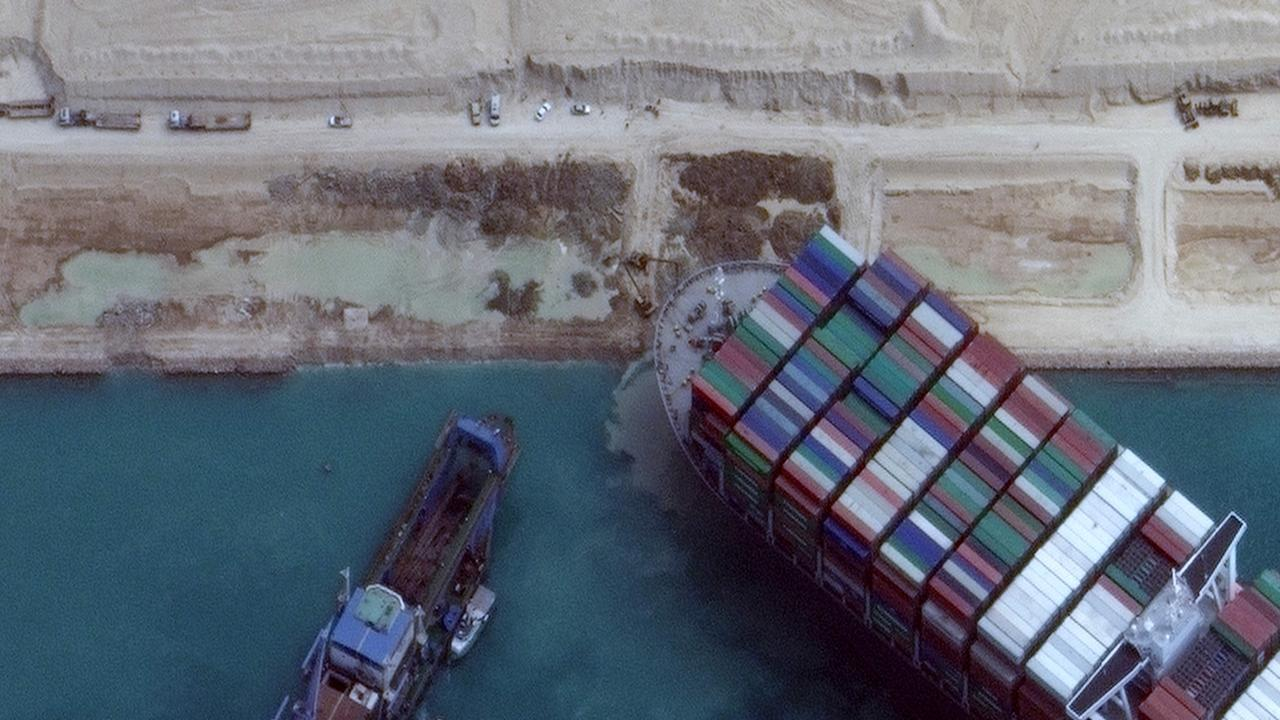The colossal container ship, the Ever Given, has been freed from the Suez Canal, one of the world's busiest shipping lanes. Picture: Satellite image Maxar Technologies/AFP