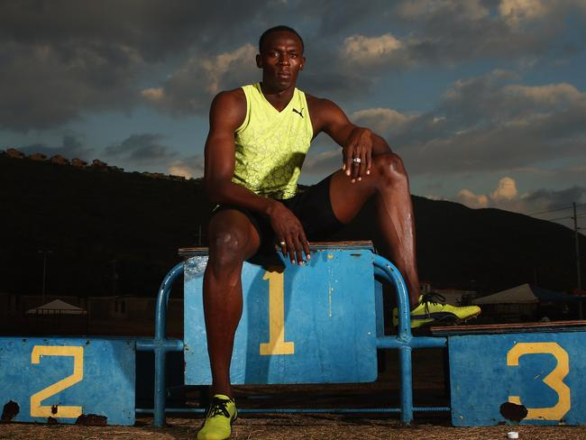 Usain Bolt at his local training track in Kingston, Jamaica. Picture: Getty Images