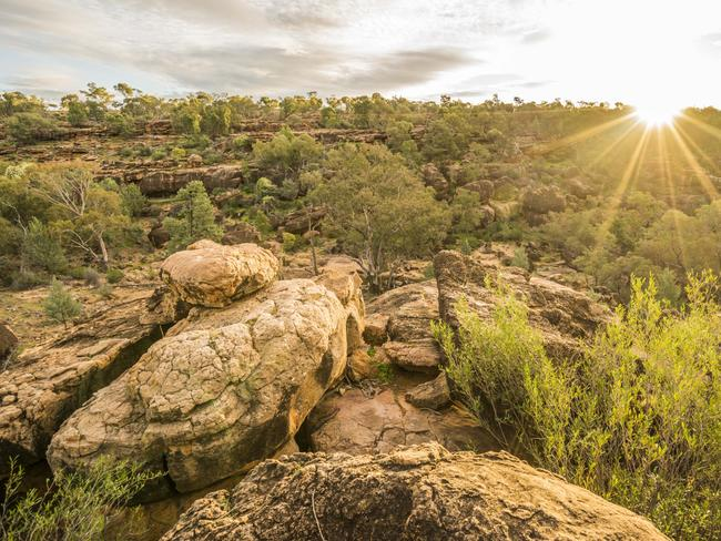 GUNDABOOKA NATIONAL PARK, SOUTH OF BOURKE: Experience camping in outback NSW, making sure to see Mount Gunderbooka and Aboriginal rock art in the area. Picture: Destination NSW