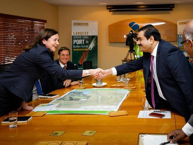 Adani Group chairman Gautam Adani meets with Queensland premier Annastacia Palaszczuk at the Port of Townsville last year. Picture: Cameron Laird/AAP