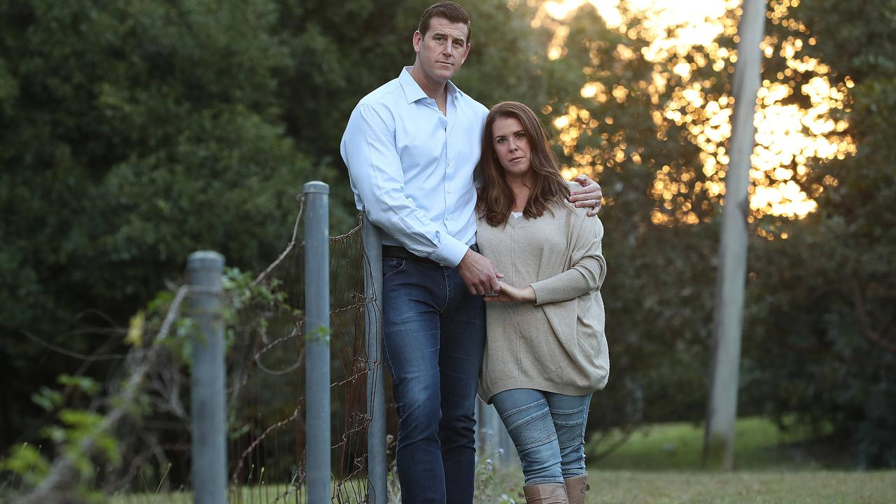Ben Roberts-Smith with his former wife Emma, on the Sunshine Coast after an article alleging his affair had been published. Picture: Lyndon Mechielsen/The Australian