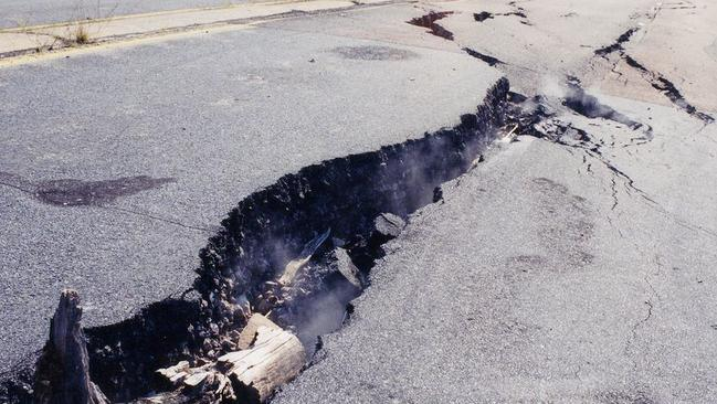 Smoke seeps out of a crack in the road at Centralia. Picture: Flickr/Peter and Laila