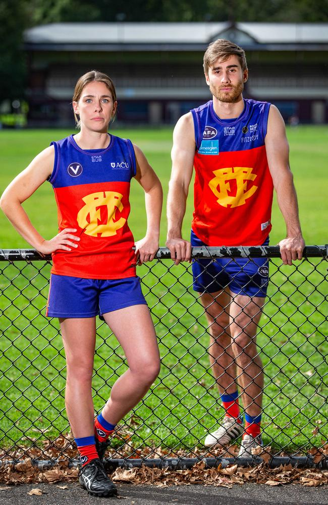 Fitzroy Captains Cass Blake and Julian Turner are now concerned for their club's future. Picture: Sarah Matray