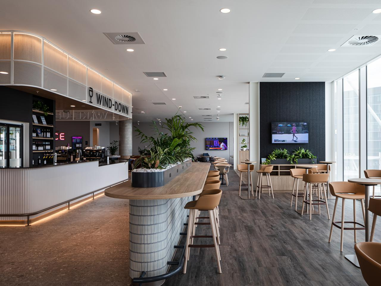 Virgin Australia General Manager Product and Customer Sarah Adam explained there were a number of different zones within the space to cater to all needs of their guests. Picture: Supplied / Virgin Australia