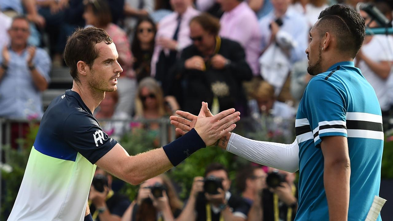 Andy Murray shakes hands with Nick Kyrgios at Queens last year.