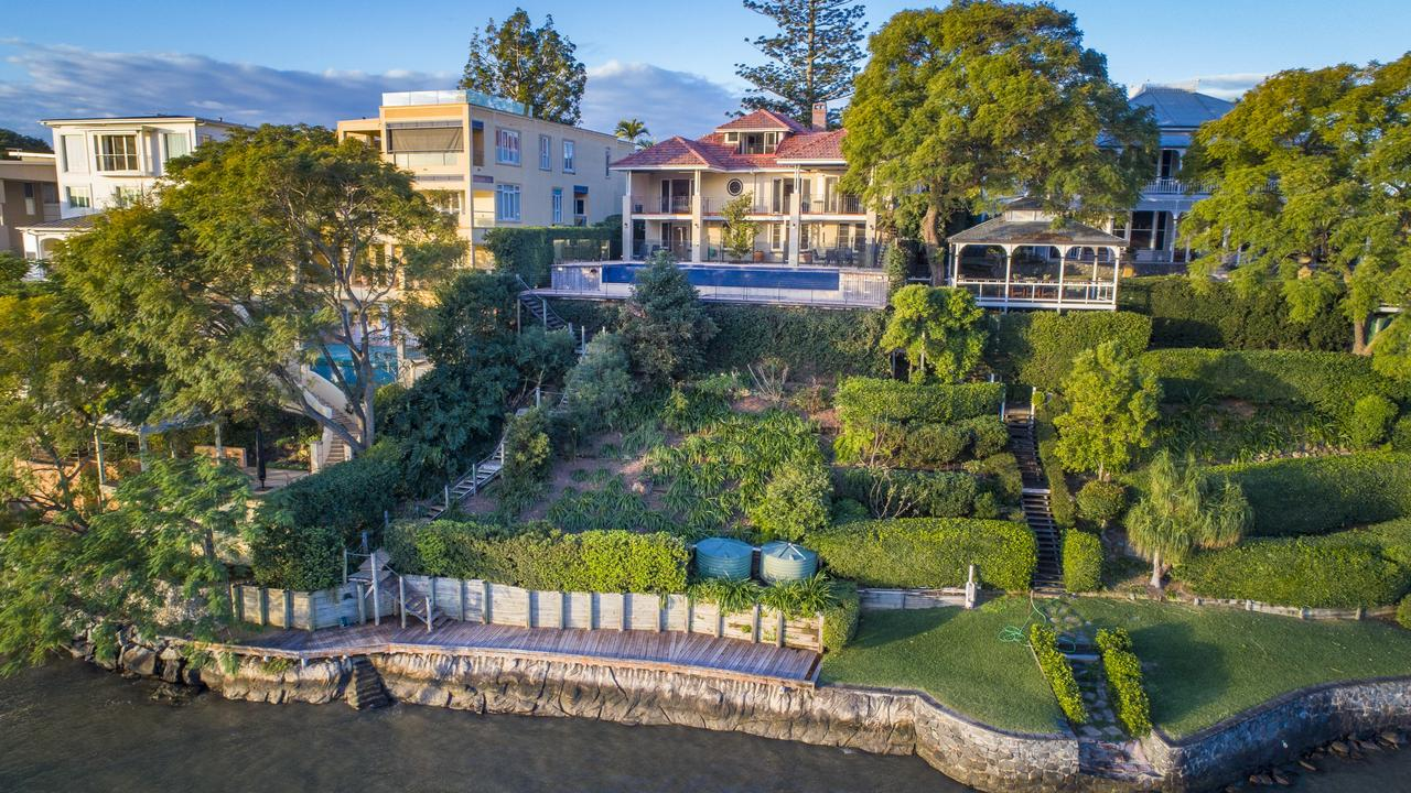 This Brisbane riverfront mansion at 90 Virginia Avenue, Hawthorne, is for sale and is on a large 1,619sq m block.