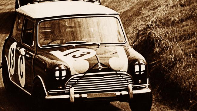 Bob Holden drives his Morris Mini Cooper to victory at Mount Panorama. Picture: Supplied