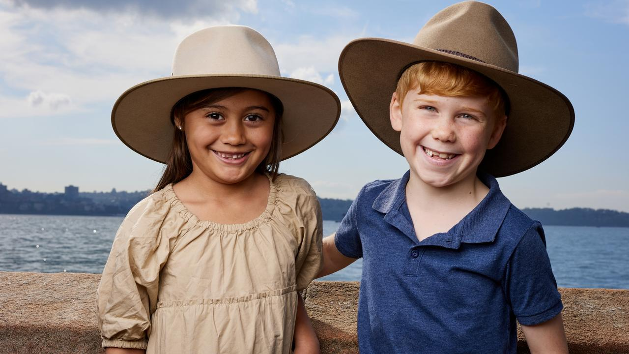 Mila and Hugo, both seven, in their Akubras. The classic Australian hat has been honoured with its own $1 coin as part of Australia Post's Great Aussie Coin Hunt. Picture: Australia Post/David Swift.
