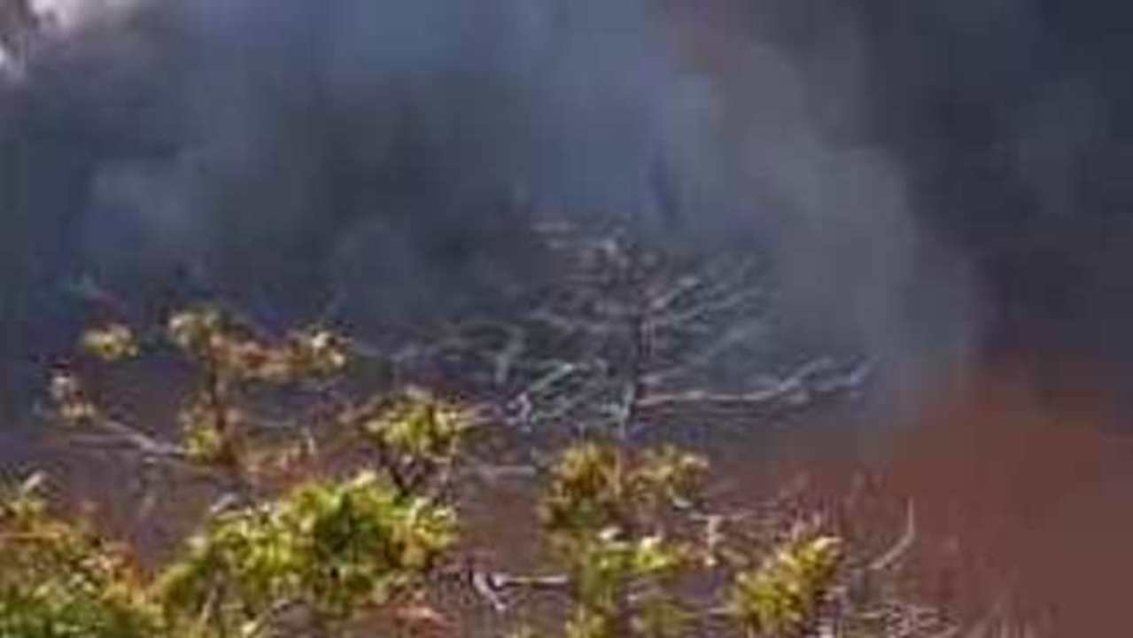 Bushfire Rages Close to Properties at Crowdy Bay, New South Wales