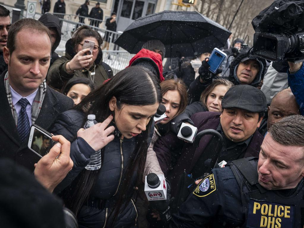 The glamorous Ms Coronel, 29, has become a global celebrity during her appearances at a Brooklyn court to support her spouse and father to her twin girls. Picture: Drew Angerer/Getty Images/AFP