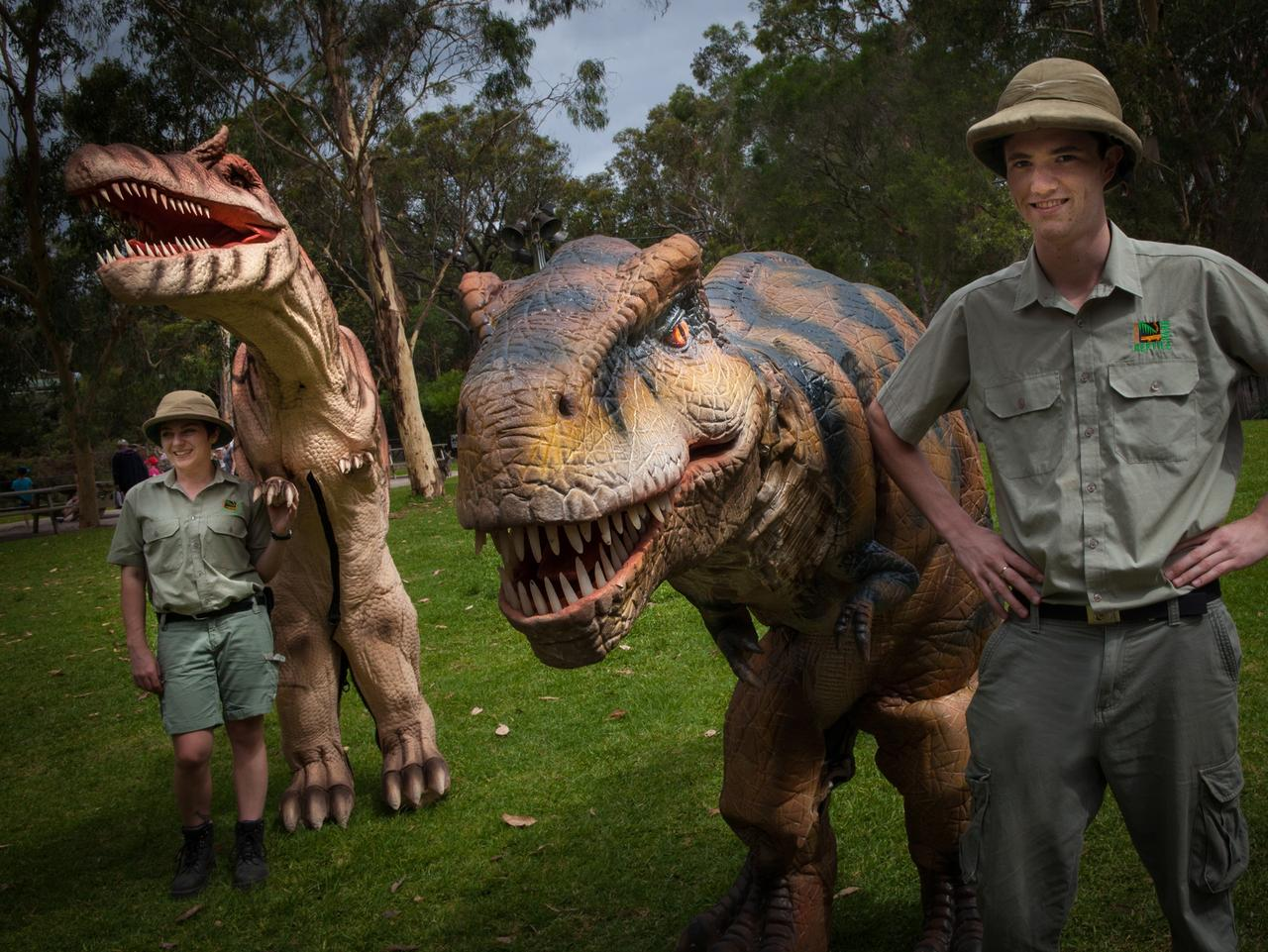 Tyrannosaurus Rex and Spinosaurus will be making an appearance at the daily Dinosaurs Alive show at Australian Reptile Park these school holidays. FOR SUNDAY TELEGRAPH SCHOOL HOLIDAY GUIDE