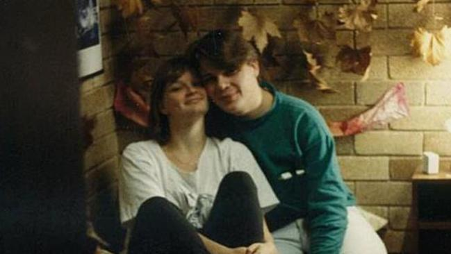 Monica in her university days with one of her many gay friends, but not the guy she fell for.
