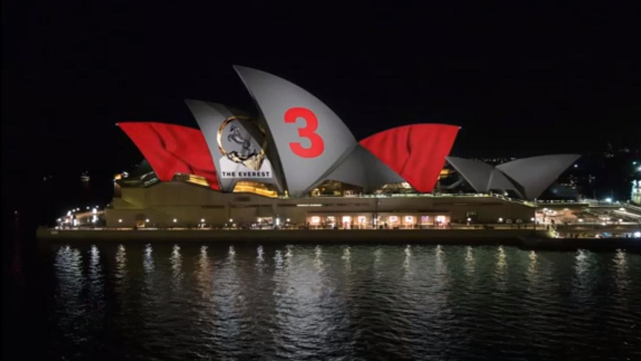 An accurate impression of the 2018 Barrier draw being projected onto the Sydney Opera House for the 2018 Everest Race. Supplied (by Anna Caldwell)
