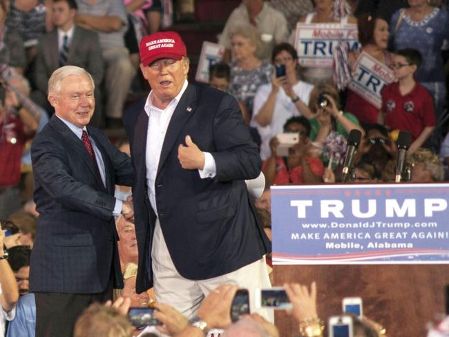 Senator Jeff Sessions was the first in Congress to support Donald Trump for President. Picture: Splash