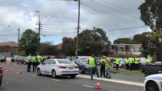 Mercedes and police car destroyed in serious Cronulla crash