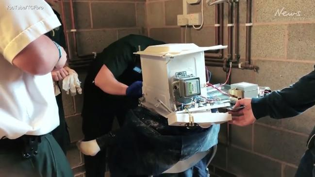 Youtuber cements head inside microwave