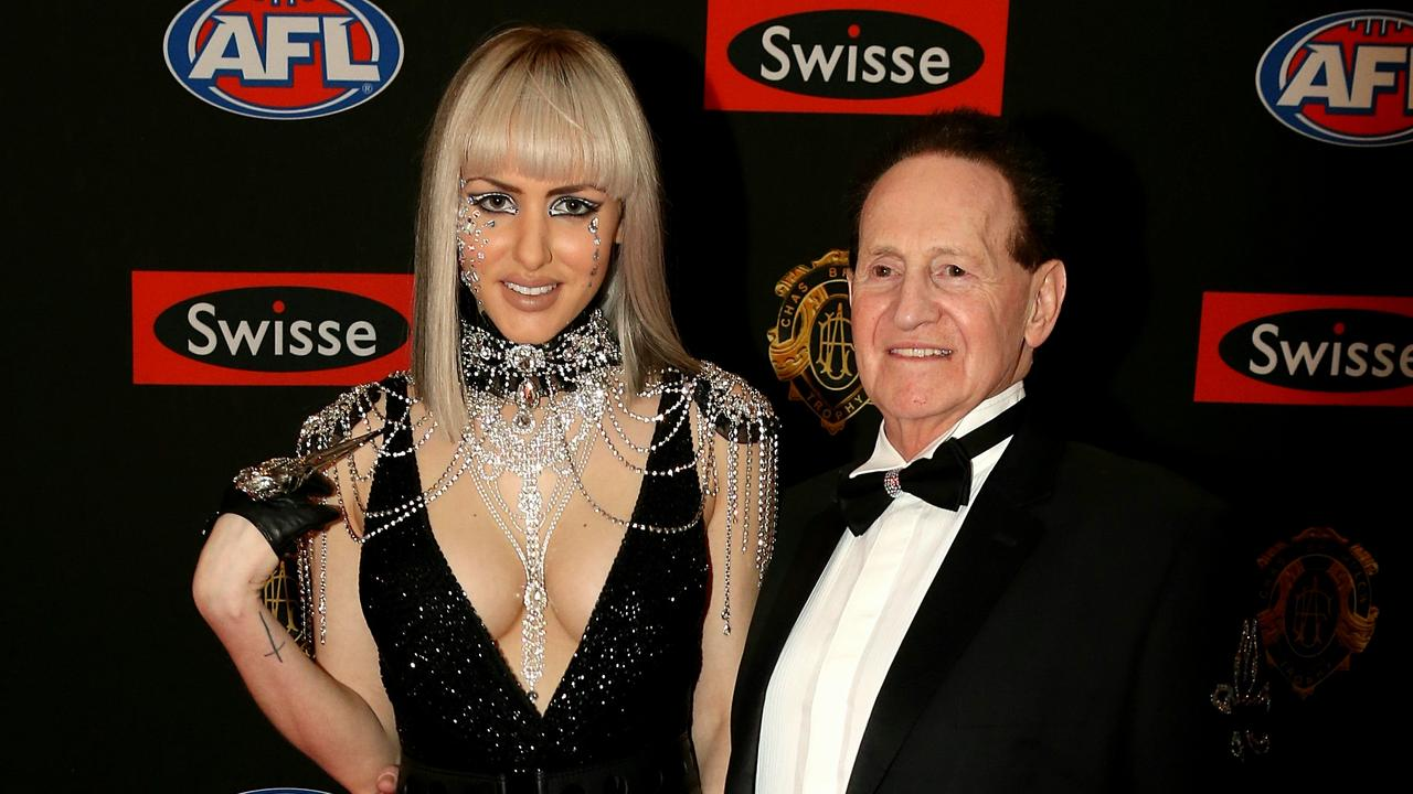 Gabi Grecko and Geoff Edelsten on the red carpet during the arrivals for the 2014 AFL Brownlow Medal. Picture: Tim Carrafa