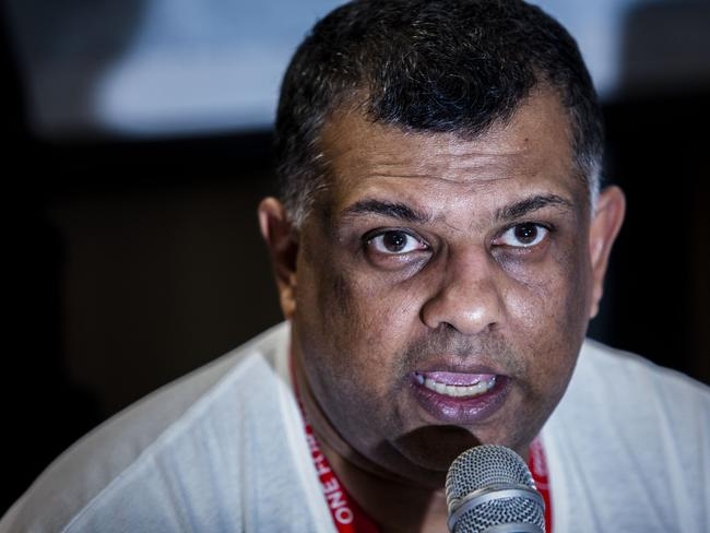 Devastated ...Tony Hernandez CEO of AirAsia talks during a press conferrence at Djuanda International airport in Surabaya, Indonesia. Picture: Oscar Siagian/Getty Images