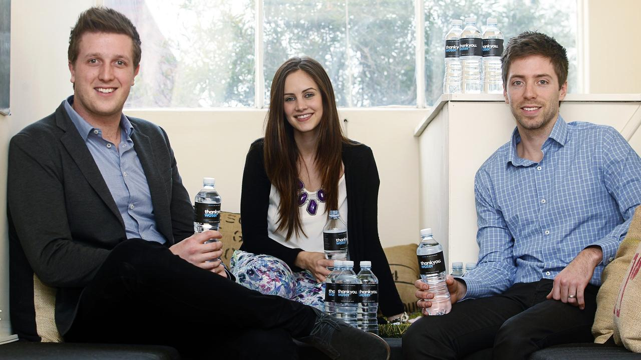 Thankyou Water co-founders Daniel and Justine Flynn and Jarryd Burns.